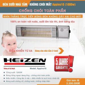 Đèn sưởi nhà tắm Heizen Appino10, điều khiển từ xa
