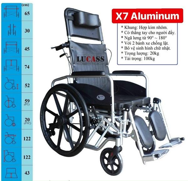 Xe lăn đa năng Lucass X7 (~X7A) – Xe lăn có bô, ngả và tay phanh